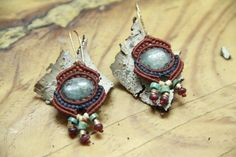 Marrocan style Micromacrame Earrings goldfield and by Magicalknot,