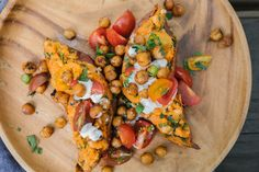Twice-baked sweet potatoes with crispy chickpeas
