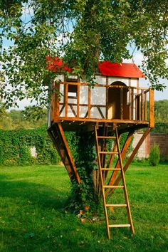 I need this tree house with a red roof in my backyard!