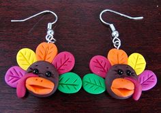 THANKSGIVING TURKEY Polymer Clay EARRINGS with by KatersAcres, $7.50