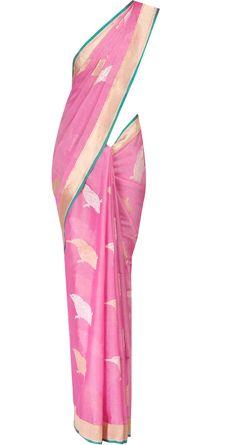 Baby pink cotton sari with bird motif by EKAYA. Shop at http://www.perniaspopupshop.com/whats-new/ekaya-21