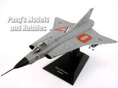 Copy of Saab J-35 Draken (Kite or Dragon) Sweden - Grey 1/72 Scale Diecast & Plastic Model