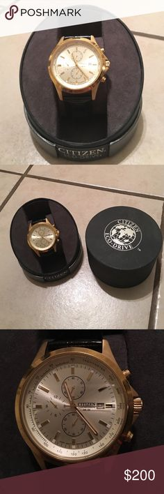 Citizen watch Women's black shiny leather and gold citizen watch. Few scratches only noticeable up close and really great condition! Citizen Accessories Watches