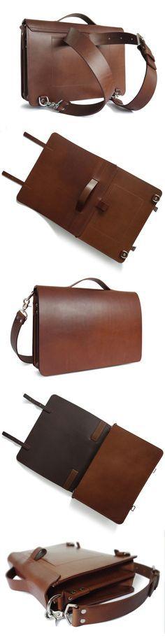 3-in-1 leather briefcase, messenger, backpack bag. #basader