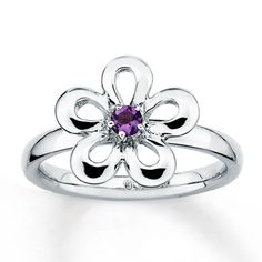 Stackable Flower Ring Amethyst Sterling Silver