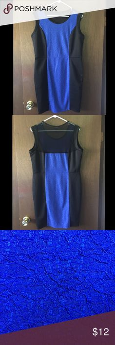 "Forever 21+ Sleeveless Mini Dress Black with bright blue lace and mesh on upper back. Never worn still has tags.  Size XL (from plus size section, so runs larger than typical XL)  37"" from shoulder to hem Forever 21 Dresses Mini"