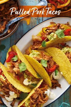 Pulled Pork Tacos bring that tasty Mexican flavour to your dinner table. Enough to share for six people, fill crunchy taco shells with slow cooked fajita flavoured pulled pork and top it with a dollop of guacamole and soured cream – enjoy!