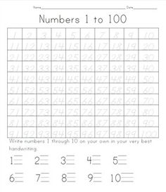 Students trace numbers 1 to 100. When they are finished, they write numerals 1 through 10 on their own. The font is great for tracing (the nine is a straight lined nine, the shape of the 8 facilitates proper form). This would also be a great worksheet for students who struggle with number writing to use while their peers are filling out a blank 100 chart.