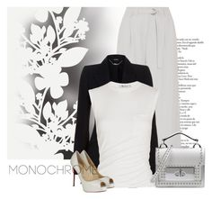 """""""In Black and White"""" by andrejae ❤ liked on Polyvore featuring Élitis, DKNY, Alexander McQueen, Alexander Wang, Marc Jacobs and Christian Louboutin"""