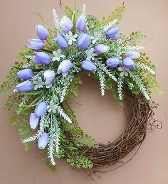 "18"" Lavender Tulip White Floral Spring Summer Easter Grapevine Door Wreath"