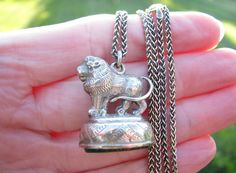Charming Antique Silver Lion Fob Necklace Nice by Franziska