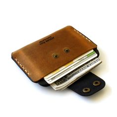 Snap Minimal Leather Wallet brown leather 1