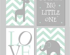 """Minze Kinderzimmer Dekor, Minze und grauen Kindergarten, Elefant Gärtnerei, träumen, dass große kleines, Baby Boy Kindergarten, Mint Kindergarten INSTANT DOWNLOAD 8 """"x 10"""""""
