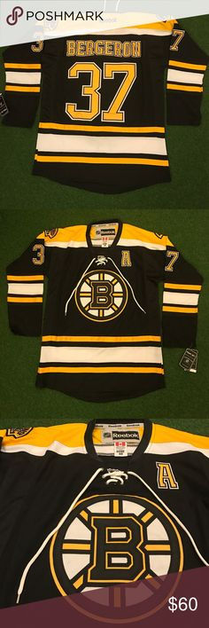 BOSTON BRUINS Hockey Jersey Bergeron #37 NHL New with tags! Men's adult sizes! NEW Boston Bruins long sleeve hockey jersey NHL - BERGERON #37 Shirts Tees - Long Sleeve