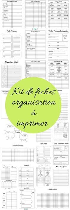 Kit de fiches pour s' organiser à imprimer #2 - Mon carnet déco, DIY, organisation, idées rangement.