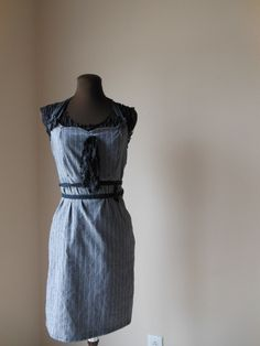 Mad Men Dress Grey Pinstripe Boho Halter Flity Office Fashion Back to School Jumper Corset Laced Tattered Shabby. $90.00, via Etsy.