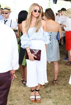 look calça culotte blusa ombro a ombro: