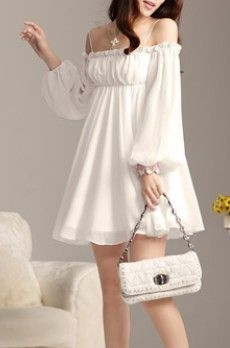 Fashion white chiffon lady skirt