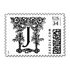 Floral Brown Bird Cage Love Birds Wedding Stamps  Brown Bird
