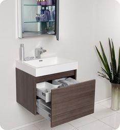 "Vanity: 23.5"" Fresca Nano (FVN8006GO) Gray Oak Modern Bathroom Vanity w/ Medicine Cabinet   (not faucet, maybe not sink)"