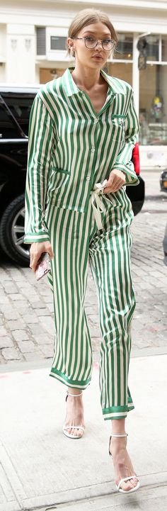 Gigi Hadid Just Wore a Legit Pajama Set for Daytime—and Looked Incredible via @WhoWhatWear