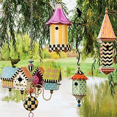 Browse the latest e-catalog from MacKenzie-Childs, filled with exciting new designs and perennial favorites. Decorative Bird Houses, Bird Houses Painted, Painted Birdhouses, Garden Crafts, Garden Art, Mackenzie Childs Furniture, Birdhouse Designs, Birdhouse Ideas, Mackenzie Childs Inspired