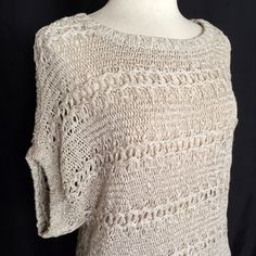 """Left on Houston Open Stitch Knit Sweater✨HP✨ Short sleeve intricate knit sweater from Left on Houston. The color is a stone/oatmeal neutral. This is an open knit so it is see-through. Size is medium. Length is 24"""" from shoulder to hem. 79% acrylic; 21% nylon. Dry clean or hand wash. Left on Houston Tops"""