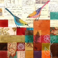 birds & blocks of color, collage...love