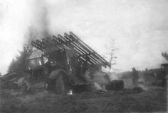"""Destroyed and burning Soviet BM-13 """" Katyusha"""" rocket launcher.1942"""