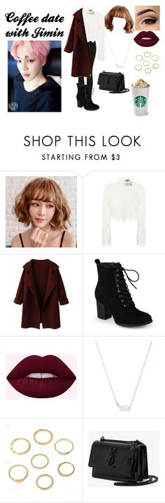 """""""Coffee Date with Jimin"""" by spicy-noodle ❤ liked on Polyvore featuring Nicholas, Journee Collection, Kendra Scott and Yves Saint Laurent"""