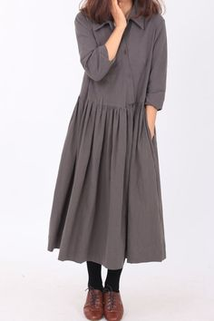 Cotton lapel Wear Long pleated dress/ dark gray light by MaLieb, $80.00