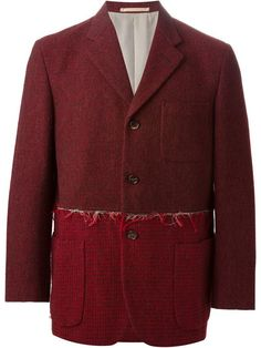 $1,086, Burgundy Wool Blazer: Comme des Garcons Comme Des Garons Vintage Bordeau Blazer Jacket. Sold by farfetch.com. Click for more info: http://lookastic.com/men/shop_items/162323/redirect