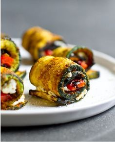 Curry Grilled Zucchini Roll Ups