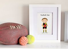 Children's Art Print...Little Boys Room...Australian Football...AFL...Customisable...Children and Nursery Prints...by Sweet Cheeks Image
