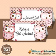EDITABLE Cute Owl and Hearts  Place by LilFacesPrintables on Etsy, $3.95