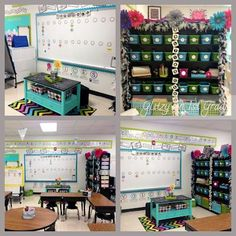 I love her classroom! The colors I am doing. This teacher must have married rich because her classroom is full of stuff I can never find on a budget