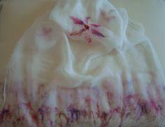 Handcrafted silky scarf Chiffon silk 100
