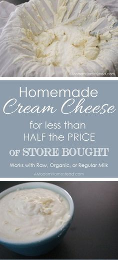 Raw Organic Cream Cheese for less than half the price of store bought! It's super easy and only takes 2 ingredients!Homemade Raw Organic Cream Cheese for less than half the price of store bought! It's super easy and only takes 2 ingredients! No Dairy Recipes, Real Food Recipes, Cooking Recipes, Cream Cheese Homemade, Make Cream Cheese, Cream Cheeses, Food Storage, Fromage Cheese, Good Food