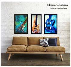Guitarras e Baixo - Guitar Player - Bass Oil Painting by Natalí de Paula - Pintura em tela! Made: Brasil  Instagram: @decorartemoderna