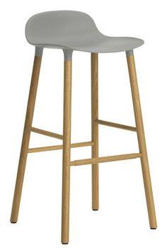 Tabouret de bar Form / H 75 cm - Pied chêne Gris / chêne - Normann Copenhagen