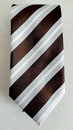 "DONALD J TRUMP 100% SILK BROWN BLUE MICRO DOTS DIAGONAL STRIPE NECK TIE 58"" LONG #DonaldTrump #Tie"