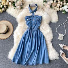 Girls Fashion Clothes, Teen Fashion Outfits, Girl Fashion, Fashion Dresses, Clothes For Women, Denim Midi Dress, Jeans Dress, Denim Summer Dresses, Womens Denim Dress