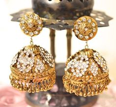 Beautiful Gold tone Jhumka earring dangle by BeautifulByBetter