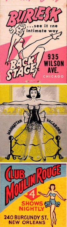 "michaelallanleonard: ""Burlesque matchbook covers. """