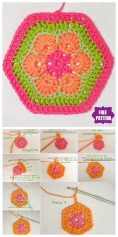 Crochet Motifs, Granny Square Crochet Pattern, Crochet Flower Patterns, Crochet Stitches Patterns, Crochet Ball, Diy Crochet, Crochet Toys, Crochet Pillow, African Flower Crochet Animals