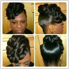Black Hair Updo Hairstyles, Black Girls Hairstyles, Twist Hairstyles, Updo Styles, Curly Hair Styles, Natural Hair Updo, Natural Hair Styles, Faux Bun, Mohawks
