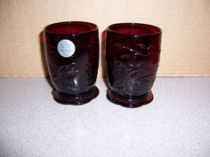 PRINCESS HOUSE RUBY RED GLASSES IN THE FANTASIA PATTERN--SCALLOP FOOT. I THINK ORIGINAL CANDLE HOLDERS BUT COULD BE USED FOR MANY OTHER THINGS. BEAUTIFUL RED--TOOTH BRUSH HOLDER, FLOWERS. | eBay! Princess House, Red Glass, Ruby Red, Shot Glass, Tooth, Candle Holders, Candles, Glasses, Tableware