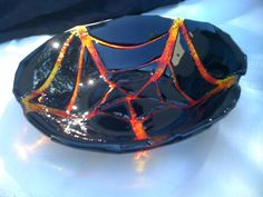 Black Yellow and Red Halloween Bowl by HangingValley on Etsy, $24.99