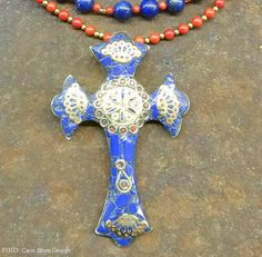 Handmade Nepal lapis lazuli coral cross with brass beads necklace