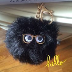 Fur Ball Key ChainHP Black Faux Fur with eyeballs and glasses. Gold accents. Cute to hang from handbags book bags jackets and belt hooks. Trendy & Chic! Accessories Key & Card Holders